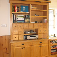 Bibliothèque meuble système de son merisier - Yellow birch bookshelf and sound system cabinet