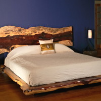 Lit Queen bois exotique organique Tamarin - Live edge exotic tamarin wood queen bed