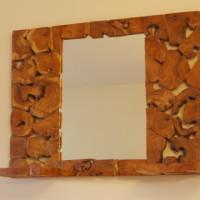 Miroir pièces de teck - Teak pieces mirror