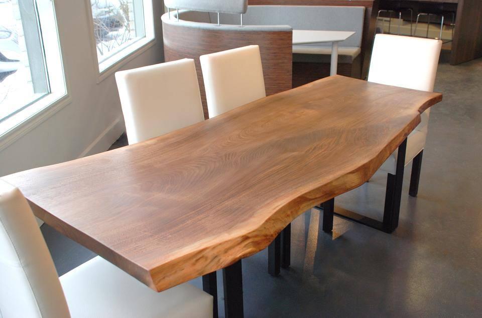 Table 224 Diner En Noyer Noir Organique Live Edge Black