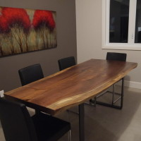Table diner noyer noir organique et metal - Live edge black walnut dining table.2