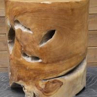 Bloc de bois exotique teck rond - Exotic teak wood round block