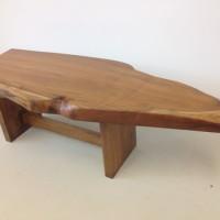Table café bois exotique organique teck - Live edge exotic Teak wood coffee table