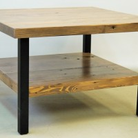 Table - café - métal - bois - grange - pruche - recyclée - Coffee - table - metal - recycled - hemlock - barn wood