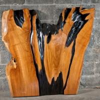 Bois exotique tranche de teck - Exotic wood teak slice - 4