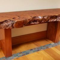 Banc bois exotique organique Lychee exotic wood live edge bench