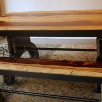 Banc bois exotique -tamarin et métal - Tamarin exotic wood and metal bench