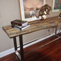 Console tamarin et métal - Live edge exotic tamarin wood and metal console