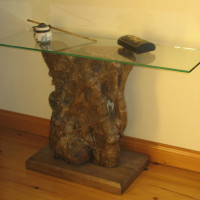 Console tronc et verre - Trunk and glass side table