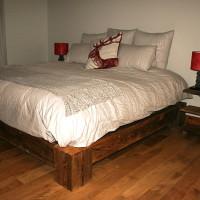 Lit queen pruche-recyclée - Recycled hemlock queen bed