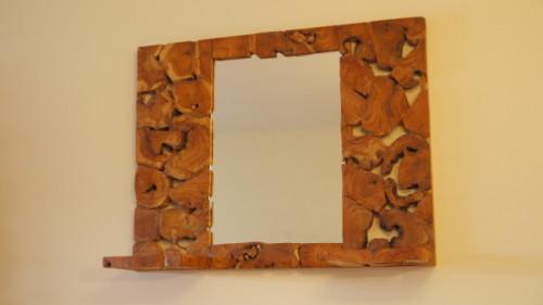 Miroir pièces de teck – Teak pieces mirror