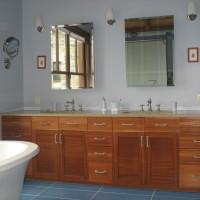 Vanité bois exotique acajou - Exotic mahogony wood vanity