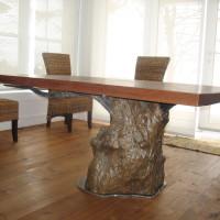 Table à dîner bois exotique teck et métal - Teak and metal dining table
