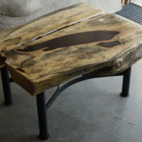 Table café bois exotique tamarin et métal - Exotic wood Tamarin and metal coffee table