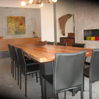 Table diner bois exotique organique suar metal - Live edge exotic suar wood and me