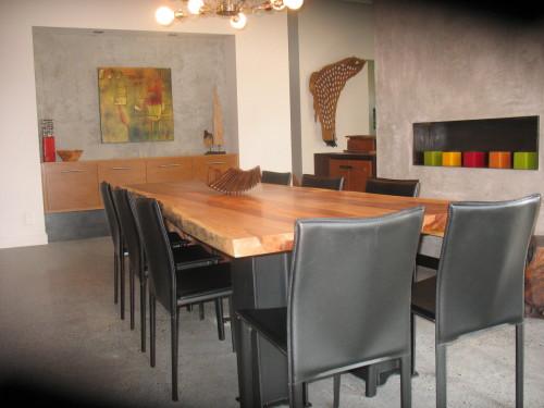 Table diner bois exotique organique  suar metal – Live edge exotic suar wood and metal dining table