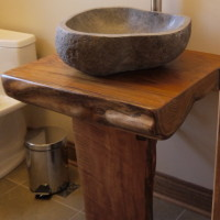 Vanité bois exotique organique teck - Teak exotic wood live edge vanity