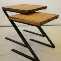 Table d'appoint gigogne teck métal gigogne - Teak metal nesting corner table